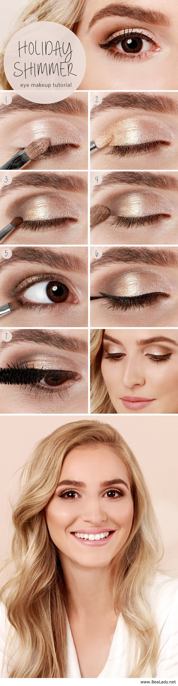 Gold brown natural eyeshadow tutorial. Great summer make up, eyes really pop, can be darkened for evening or perfect for an everyday look