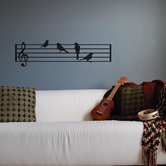 Birds on Music Staff as Music Notes Wall Decal