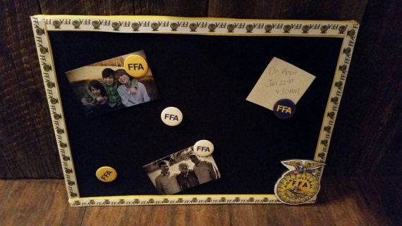 FFA Bulletin Board! Great advisor gift or graduation present, perfect for any classroom, office, or dorm room. https://www.etsy.com/listing/215876684/ffa-bulletin-board-fabric-bulletin-board