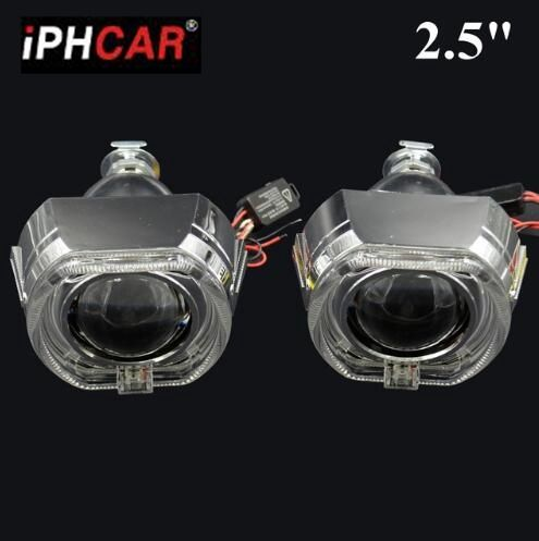 2pcs 2.5inch car Bi xenon Bixenon Projector lens for bmw led day running angel eyes H1 H4 H7 hid xenon kit headlight