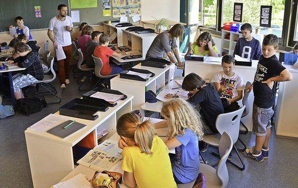 Klassenzimmer der Zukunft: Lernatelier in der Jengerschule in Ehrenkirchen.   | Foto: Andrea Gallien/tanja Bury