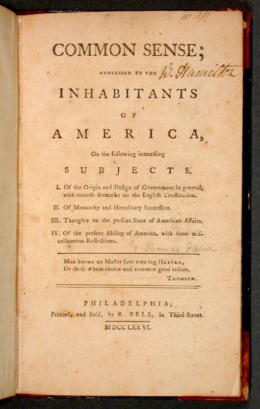 Common Sense was first published anonymously on January 10, 1776, at the beginning of the American Revolution. It presented the American colonists with an argument for freedom from British rule at a time when the question of seeking independence was still undecided.