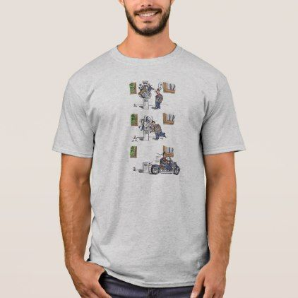 Biker At Museum cartoon gray shirt - diy cyo customize create your own #personalize