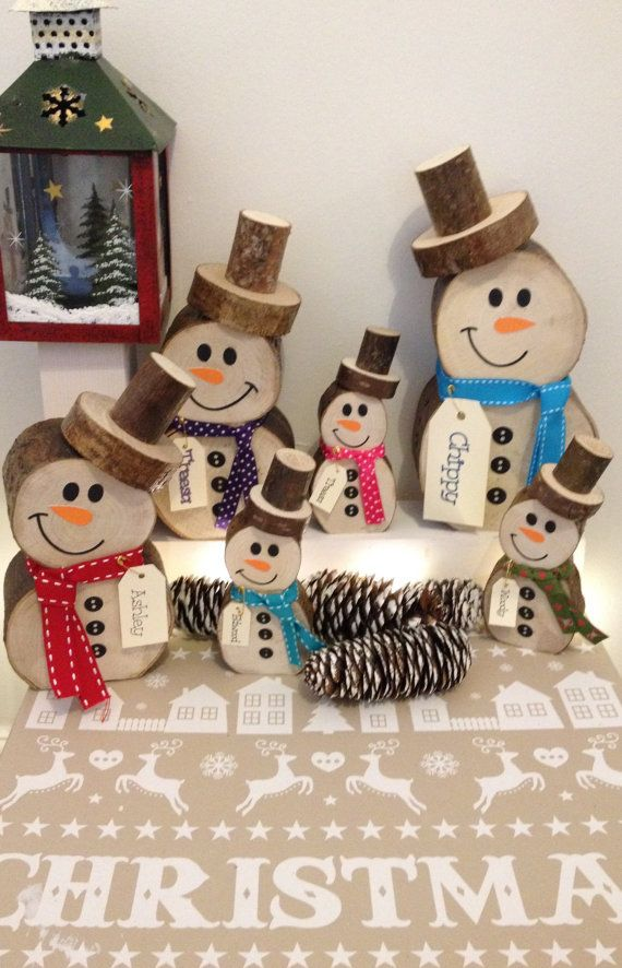 Log snowman unique rustic Christmas decoration by Poppetscreative