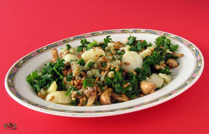 Cette recette combine le croquant des topinambours et de l'épeautre avec la douceur des champignons et du chou frisé. Le résultat est une salade très savoureuse qu'on sert en accompagnement ou en entrée.