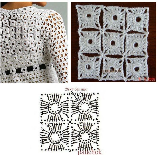 Patrones Crochet: Abrigo de Cuadraditos con Lazo Patron