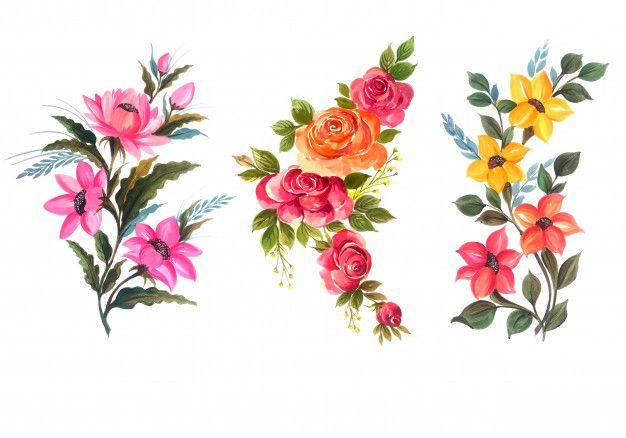 Mazzo Di Fiori Vector.Scarica Gratis Illustrazione Floreale Di Vettore Dell Insieme Del
