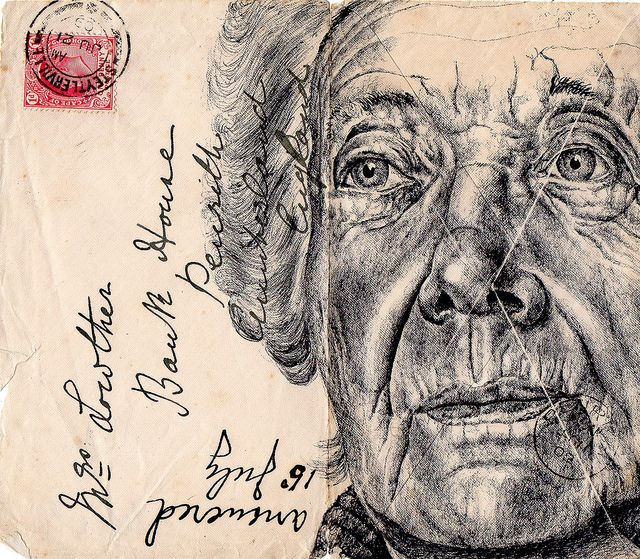 bic biro on 1909 envelope by mark powell bic biro drawings, via Flickr