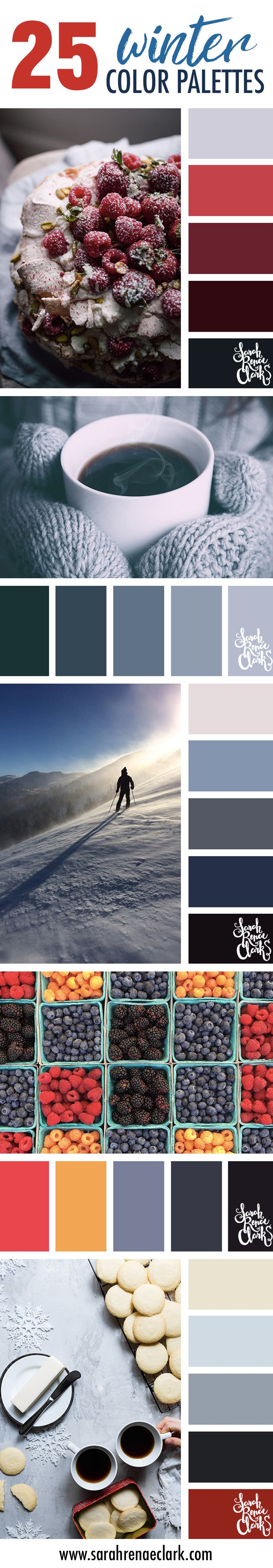 25 Winter Color Schemes // Click for more winter color combinations, mood boards and seasonal color palettes at http://sarahrenaeclark.com #color #colorscheme #colorinspiration