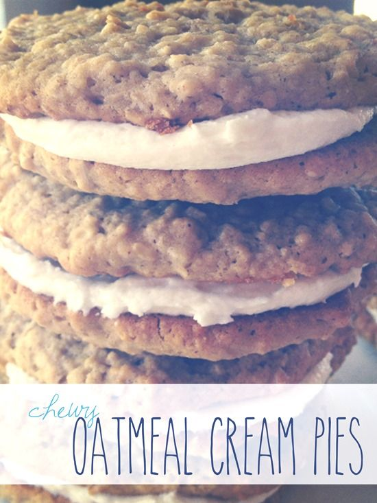 Chewy Homemade Oatmeal Cream Pies. I think I'll make these cookies with marshmallow creme filling instead!