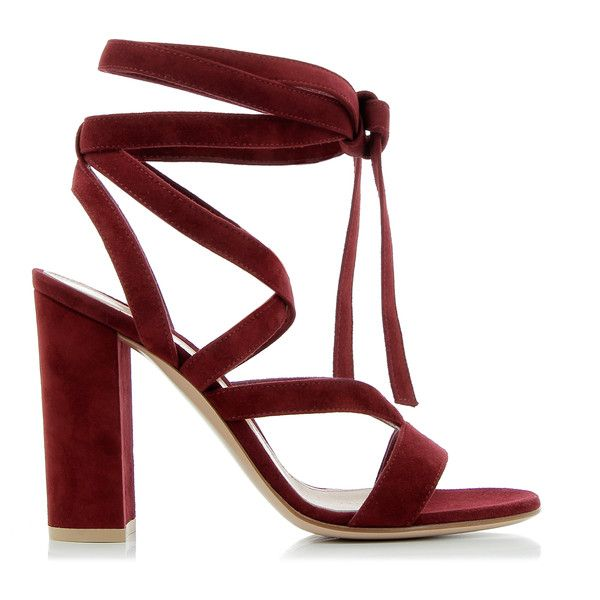 Gianvito Rossi Janis High Sandals ($525) ❤ liked on Polyvore featuring shoes, sandals, high heel sandals, real leather shoes, block heel shoes, tie sandals and red high heel shoes