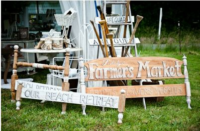 Bed frame repurposed sign