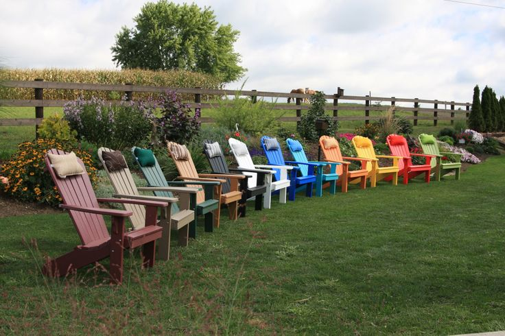 Fanback polywood adirondack chairs - available with optional Adirondack chair head pillow.  Available in 12 different colors, and 18 different options for the head pillow.