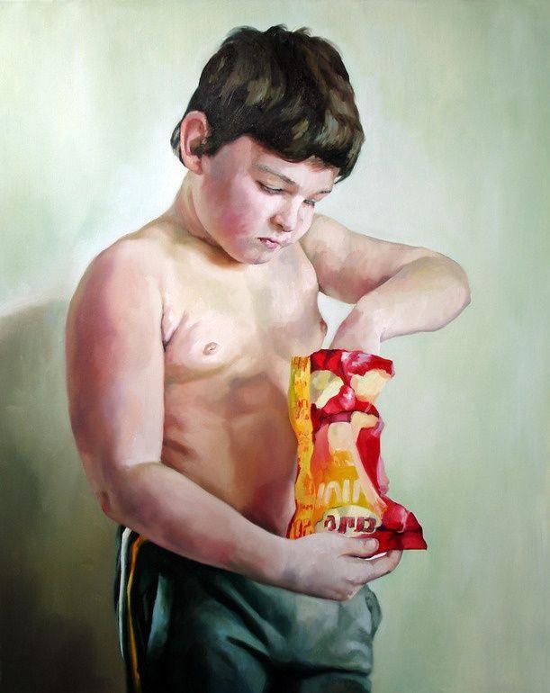 "Saatchi Online Artist: Anca Danila; Oil, 2010, Painting ""Childhood obesity"""