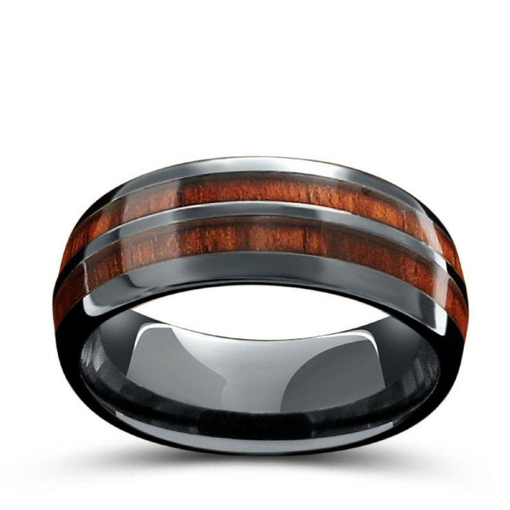 vintage wine barrel wedding band 8mm mens wood wedding ring crafted out of ceramic and - Wooden Wedding Rings For Men