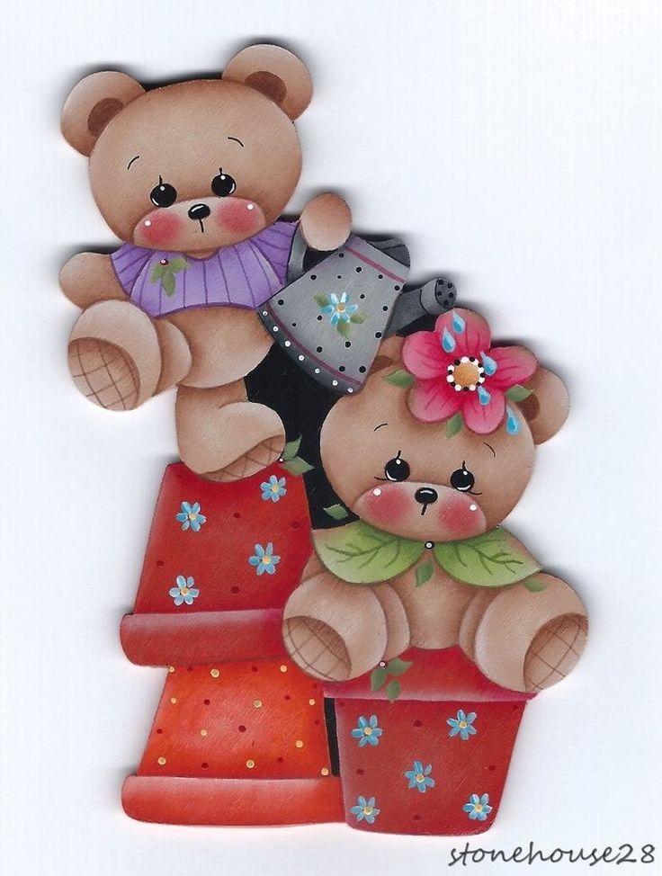 HP TEDDY BEARS and Flower Pots FRIDGE MAGNET #Handpainted
