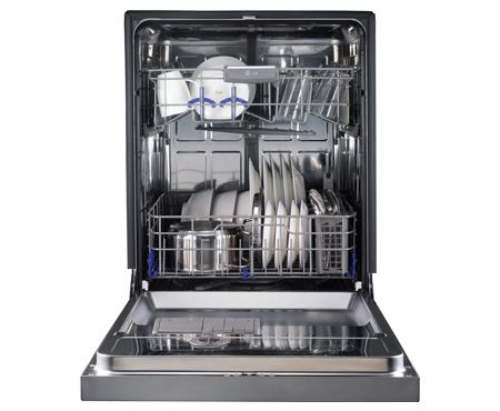 LG dishwasher - clean filter and spray arms 2x yearly. How to here: http://www.lg.com/us/support/answers/dishwashers/cleaning-spray-arms-and-filters