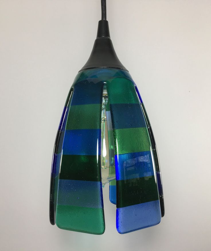 This Pendant Light Shade Is Made Of Alternating Strips Of Different Shades  Of Blue And Green Glass On Each Side. The Colors As Shown Are Light Green,  ...