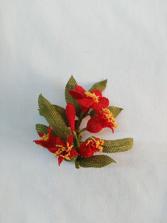 Nar çiçeği broş