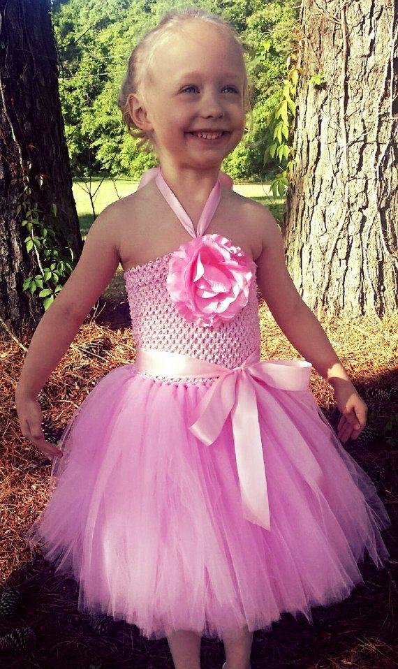Pink flower tutu dress  wedding and by KrystalsTuTuKloset on Etsy, $60.00