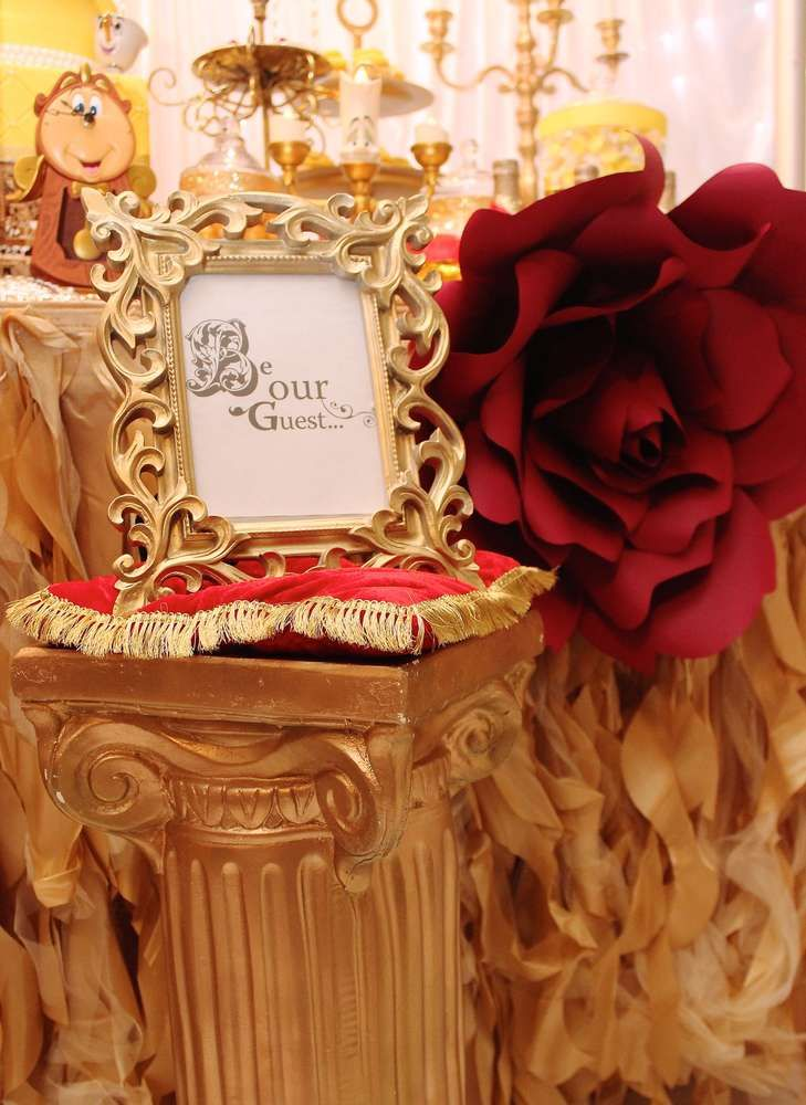 Belle beauty and the beast birthday party ideas for Beauty and the beast table and chairs