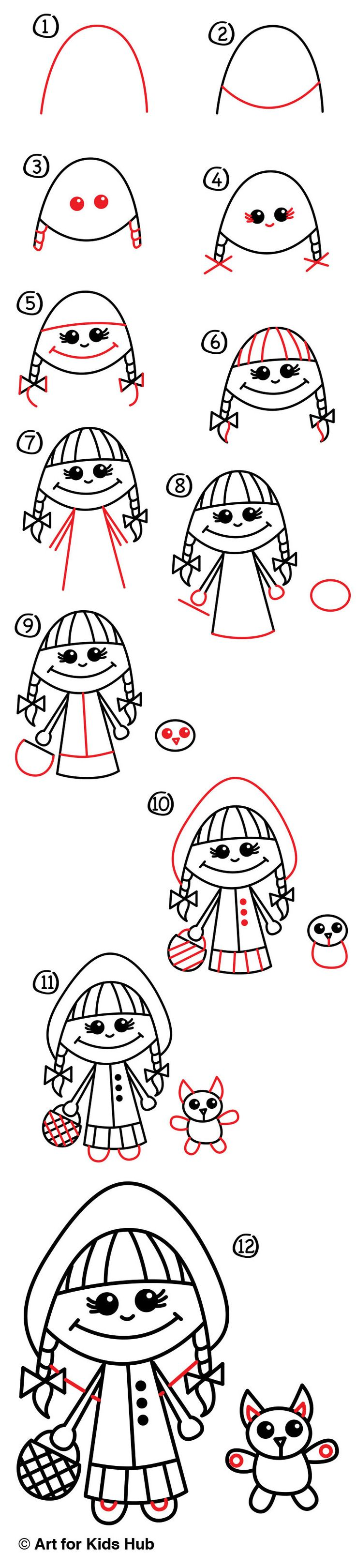 Red color code wolf online - How To Draw Little Red Riding Hood Art For Kids Hub