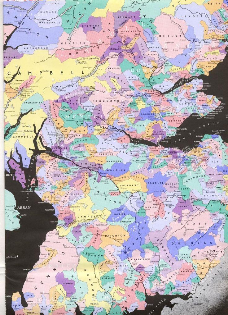 Scottish Clans Map Purple is Stewarts 909