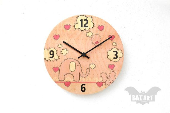Pink hearts Kids Wall Clock 20cm  Girly design  Elephant by BatLab