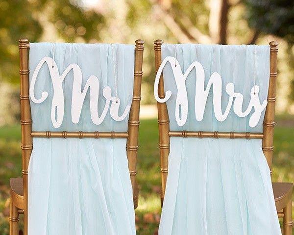 """Decorazione """"Polvere d'Argento"""" per sedie sposi """"Mr.&Mrs."""""""
