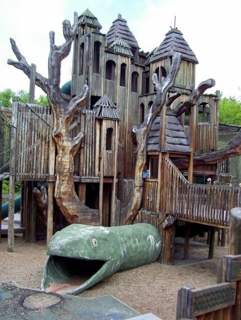 Jungle Gym at The Nashville Zoo, Nashville, Tn    This 35 foot wooden behemoth is the centerpiece of the playground at the Nashville Zoo. Toted as the largest community-organized playground in the country, it has over 66,000 square feet of free space where kids can run wild in between animal feedings and zoo shows. The Jungle Gym also has hidden slides, a cargo net area, rope swings, and even its own bat cave. (!)