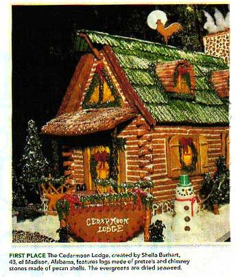 I've always wanted to try a log cabin gingerbread house.