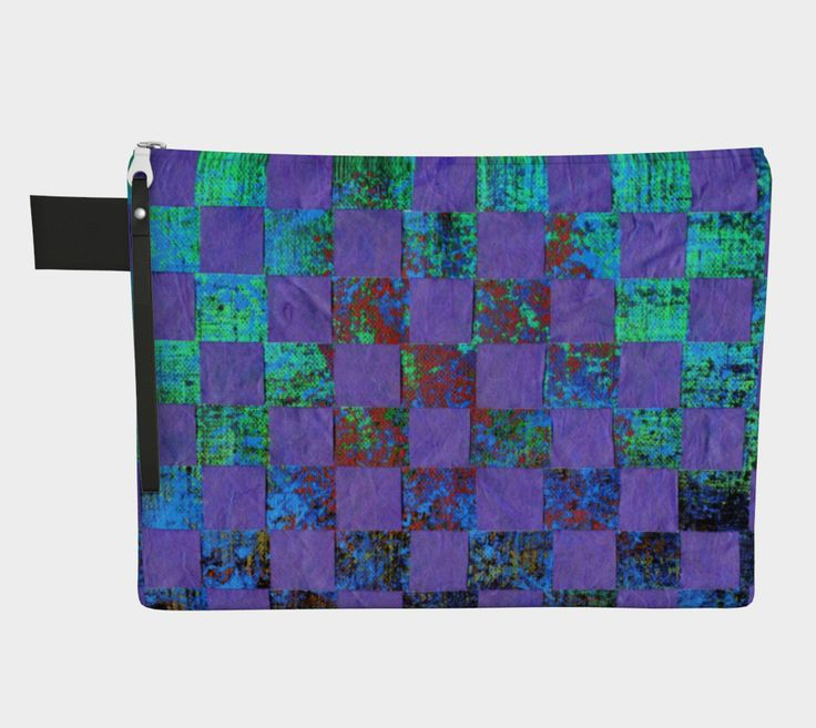 "Zipper+Carry-all+""Paper+Weaving+in+Purple+and++Aquamarine""+by+Karen+Kammermann"