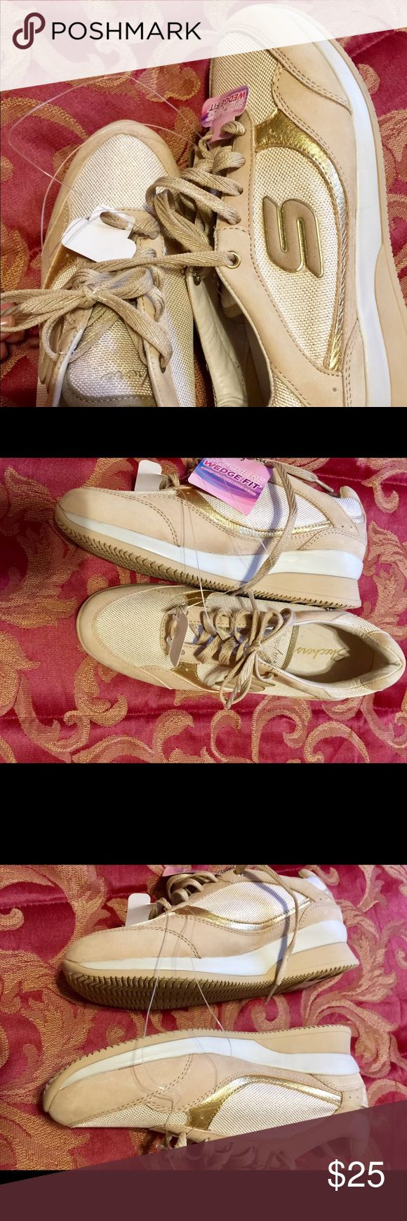 NWT 💕SKECHERS Wedge Fit Shoes Tan Sz 7 Sketchers Wedge Fit shoes, tan and gold color. Size 7 but feet better on sz 6.5 Skechers Shoes Sneakers