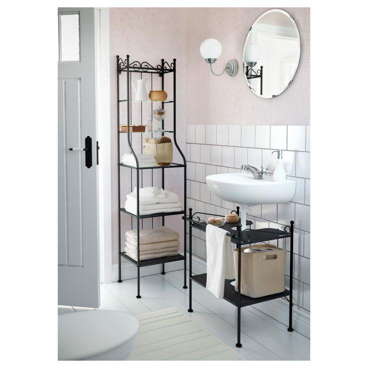 Apartments: Classic Bathroom Design Ideas With Black Metal Bathroom  Shelving Units Also White Laminated Wood Flooring Ideas, black medicine  cabinet, ikea bathroom storage ~ Frining.com