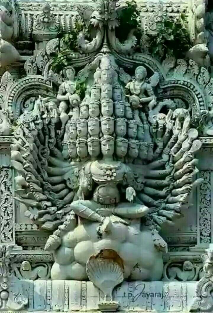 Lord Shiva with 26 faces and 52 hands on tha Temple tower of Sucheendram in Tamilnadu.
