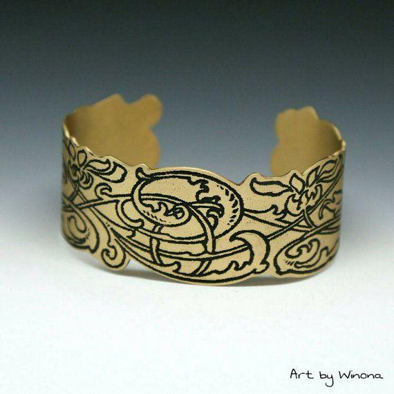 Brazalete de estilo Art nouveau manguito de latón latón
