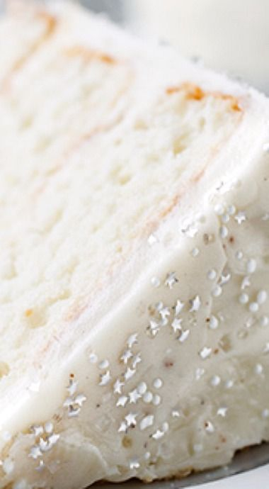 Winter Snow Flurry Cake with Fluffy Eggnog Frosting and Sugar Snow Crystals