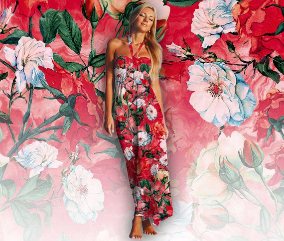 Rose Red Seamless Floral Pattern for Fashion by rizapekerart #floral #print #pattern #artshop #ss17 #roses #red #digital #fashion #modaa