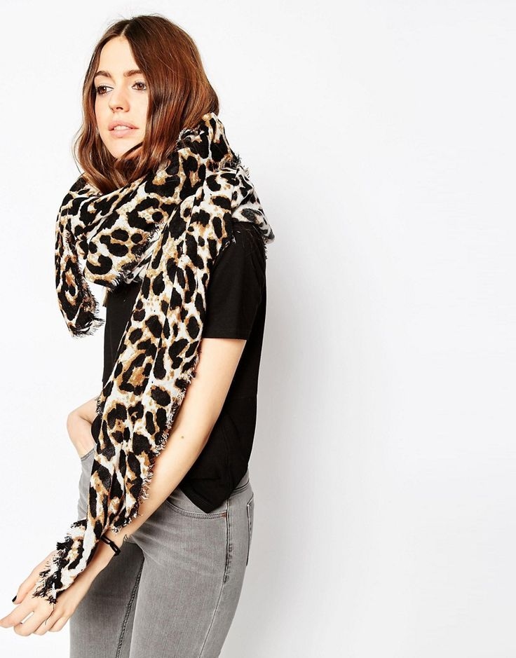 ASOS Oversized Lightweight Scarf In Leopard Print