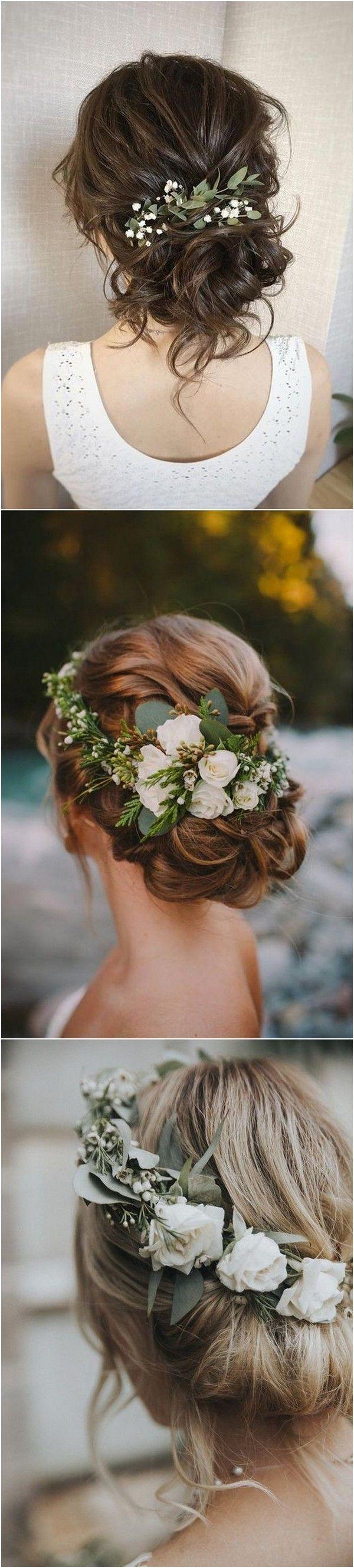 20 wunderschöne Hochzeitsfrisuren mit Blumen für den Herbst   – Wedding Inspir…