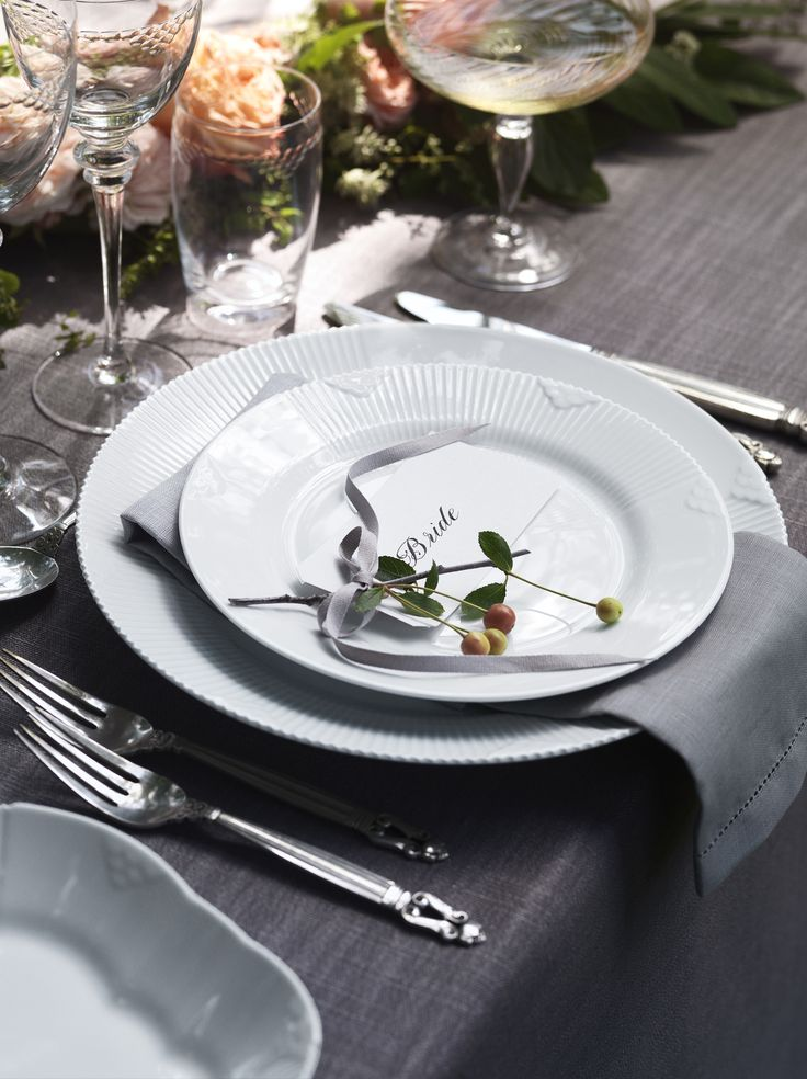 White Elements is beautiful dinnerware for a wedding. This is the the Brides seat.