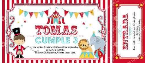 Kit Imprimible Circo Invitaciones Candybar Primer Año
