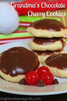 Grandma's Chocolate Cherry Cookies | High Heels and Grills.