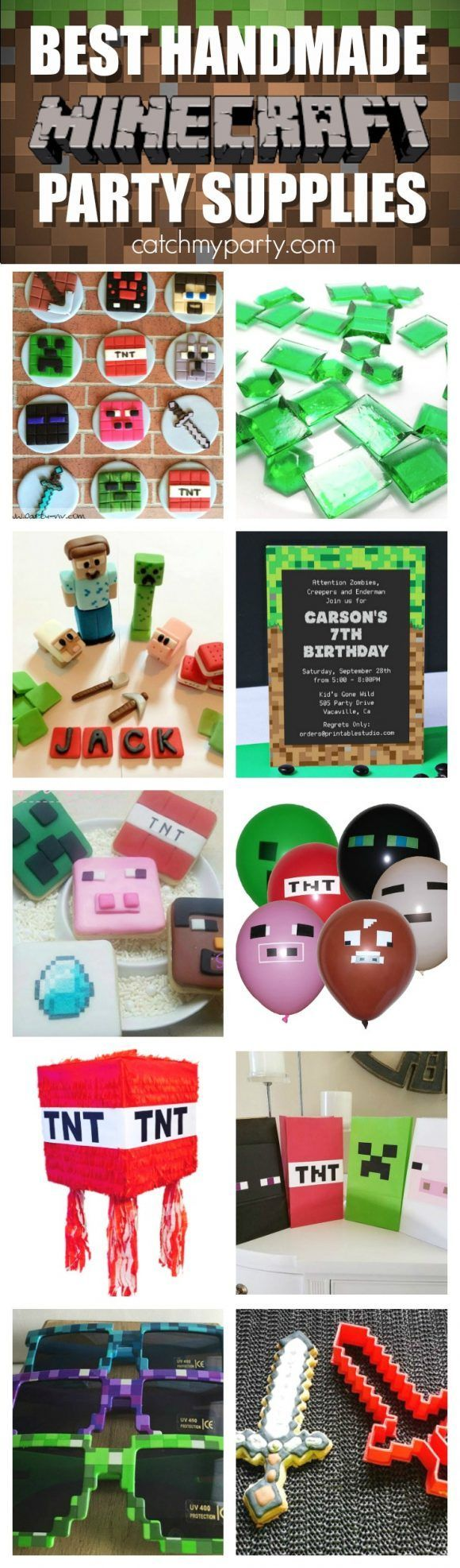 Best Handmade Minecraft Party Supplies | http://CatchMyparty.com