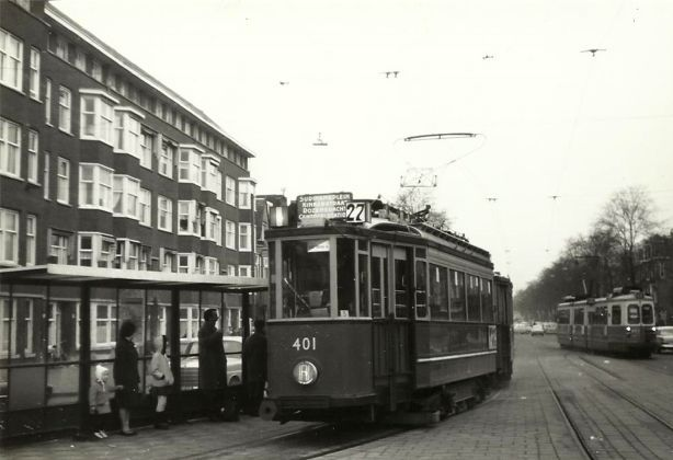 1960's. Tram line 27 on the way to the tram depot. Photo Jeroen Epema. #amsterdam #1960