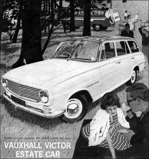 1962 magazine advertisement for the new Vauxhall Victor Estate Car. Note the Bedford Dormobile caravan in the background