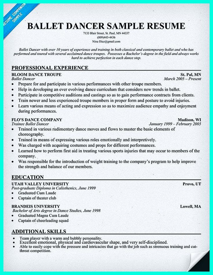 Nice Dancer Resume Dance Choreographer Resume Sample Dance Sample Work Resume