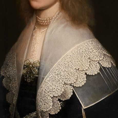 by Gerrit van Honthorst  Portrait of a lady, detail (1638)