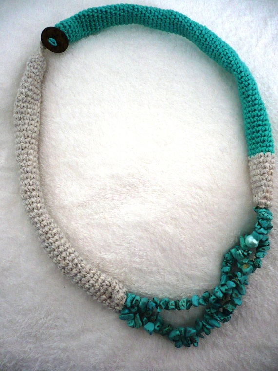 Turquoise Green and Gray Tube Crochet Necklace is made from two hand -crocheted tubes with turquoise beads and one little pearl.  It`s very comfortable in wearing and very light weight.  It can be worn any season of the year.  Lenth: approx 35cm