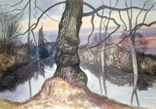 John Nash (English, 1893-1977), Wintry Evening, a Pond